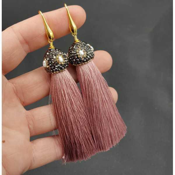 Gold gilded age rosa Quaste Ohrringe mit Kristallen und Perle