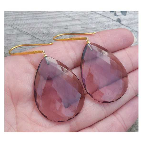 Gold plated earrings with large Amethyst briolet