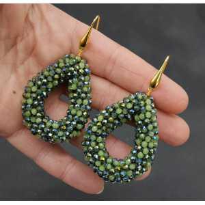 Goud vergulde oorbellen open druppel van half groen en metallic kristallen