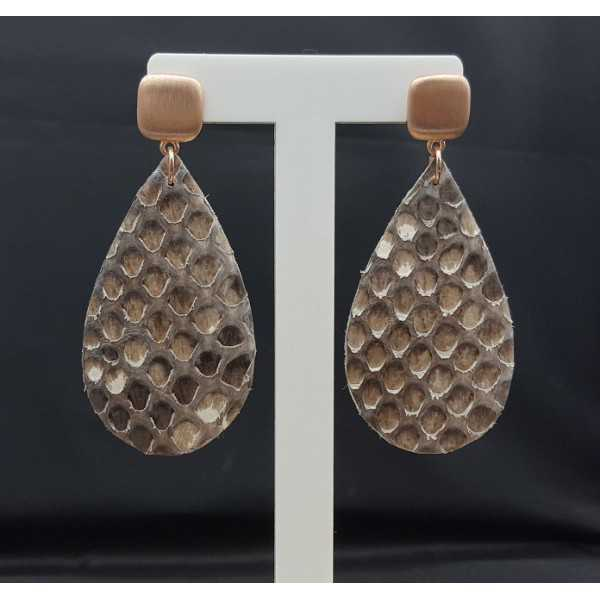 Rosé gold-plated earrings with Snakeskin drop