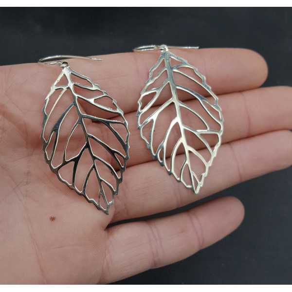 Silver earrings with large silver leaf