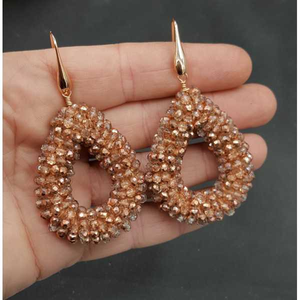 Rosé gold-plated earrings open drop of rose golden crystal