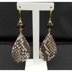 Earrings with Smokey Topaz and Snakeskin drop
