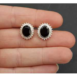 Silver oorknoppen set with black Onyx and Cz