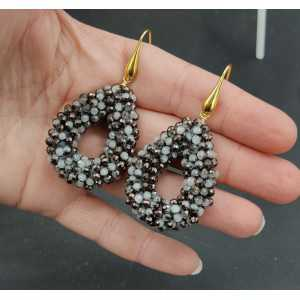 Gold plated earrings open drop of gray, black crystals small