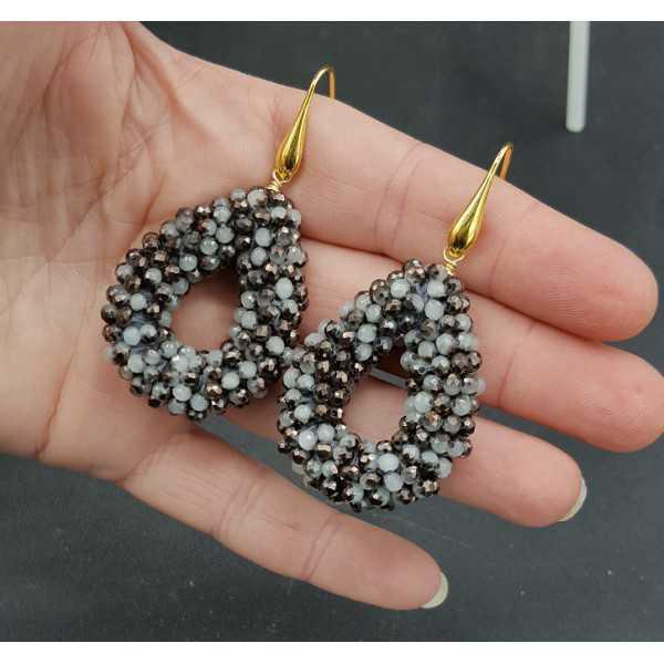 Goud vergulde oorbellen open druppel van grijs zwarte kristallen small