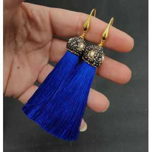 Vergoldet, Blaue Quaste Ohrringe mit Kristallen und Perle