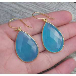 Gold plated earrings with large blue Chalcedony briolet
