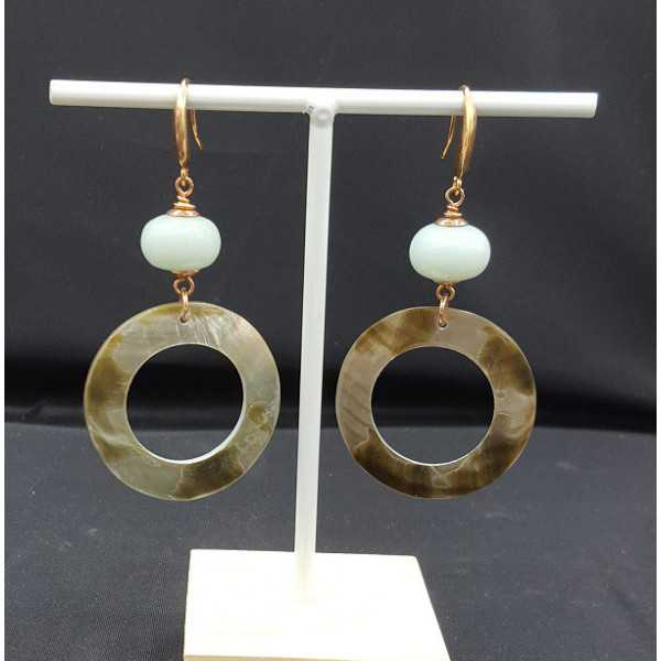 Ohrringe mit Amazonit und shell