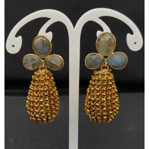 Goud vergulde oorbellen met Labradoriet en druppel van gouden kristallen