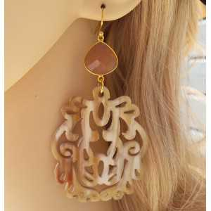 Gold plated earrings with peach Moonstone and buffalo horn