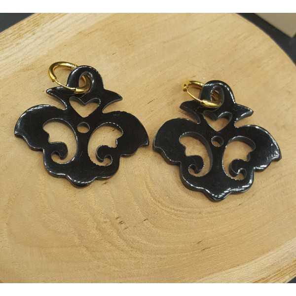 Creoles with black buffalo horn pendant