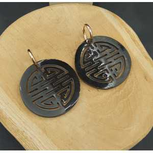 Creoles with round black buffalo horn pendant