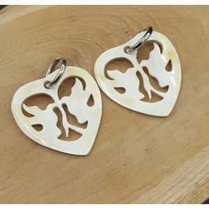 Creoles with heart with doves buffalo horn pendant