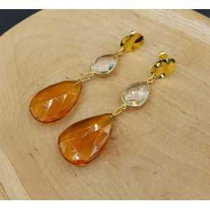Goud vergulde oorbellen met Bergkristal en Citrien quartz