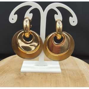 Gold-plated creoles with round gold and buffalo horn pendants
