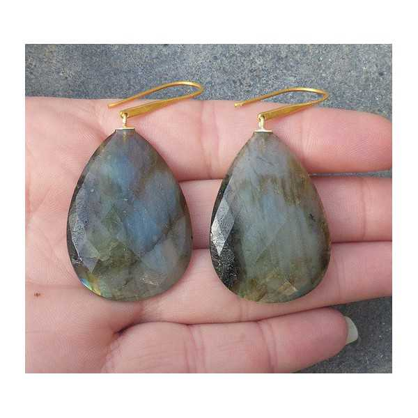 Gold plated earrings with large Labradorite briolet