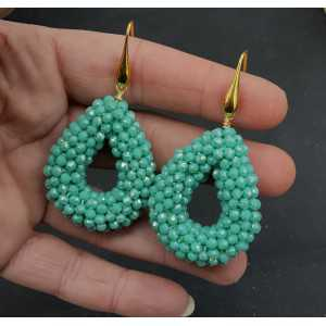 Gold plated earrings open drop mint green crystal small