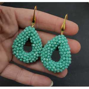 Goud vergulde oorbellen open druppel van mint groen kristallen small