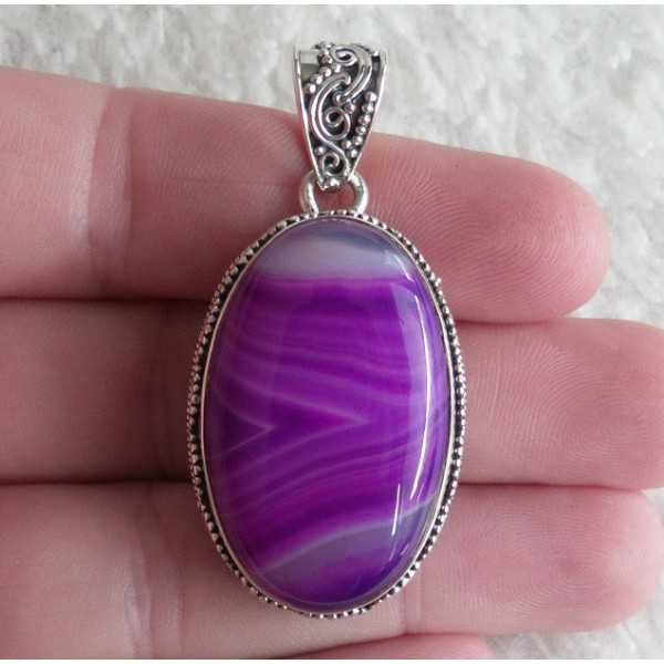 Silver pendant purple / pink Botswana in any setting
