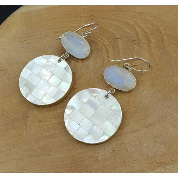 Silber-Ohrringe mit Mondstein und Anhänger, Mutter-of-Pearl