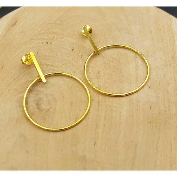 Goud vergulde oorbellen hoepel medium