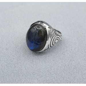 Zilveren ring gezet met Labradoriet (mannen ring) 20.5