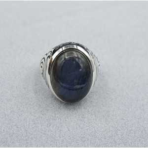 Silver ring set with Labradorite (men ring) 20.5