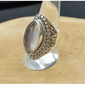 Zilveren ring gezet met marquise Rozenkwarts 19 mm