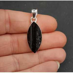 Zilveren hanger gezet met marquise ruwe zwarte Toermalijn