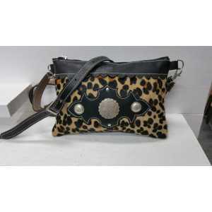 Cowhide damestas travel bag leopard print