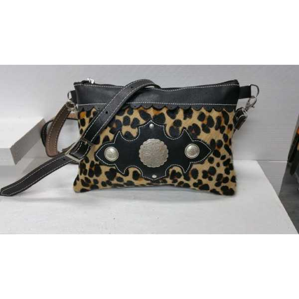 Rindsleder damestas travel bag leopard print