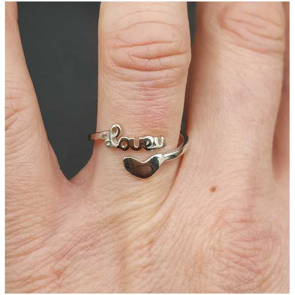 Silver ring love adjustable