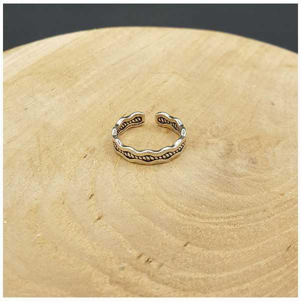 Zilveren wave ring verstelbaar
