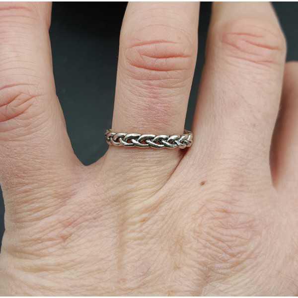 Zilveren schakel ring verstelbaar