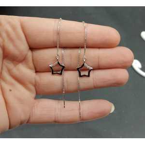 Zilveren oorbellen met zilveren ster