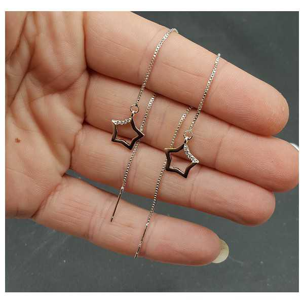 Silber-Ohrringe mit silbernen Stern