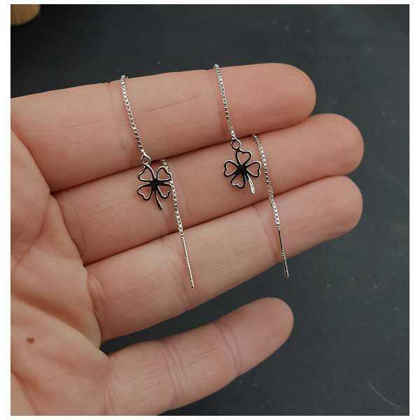 Silber Ohrringe mit Klee