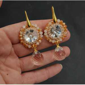 Goud vergulde oorbellen Honey Topaas en hanger van zijdedraad en kristal