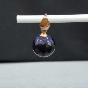 Rosé gold-plated pendant and creoles with round Amethyst quartz
