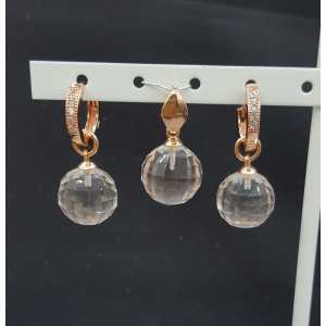 Rosé gold-plated pendant and creoles with round Honey Topaz