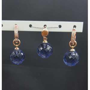 Rosé goud vergulde hanger en creolen met ronde  Ioliet quartz