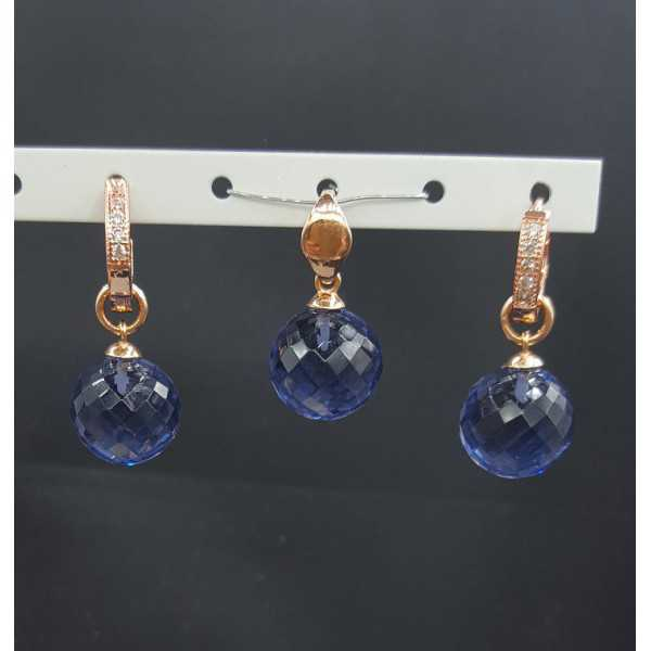 Rosé gold-plated pendant and creoles with round Ioliet quartz