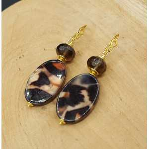 Vergoldete Ohrringe mit Smokey Topaz und shell