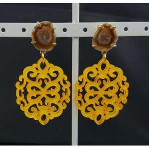 Vergoldete Ohrringe mit gelben Harz-Anhänger-Achat-geode