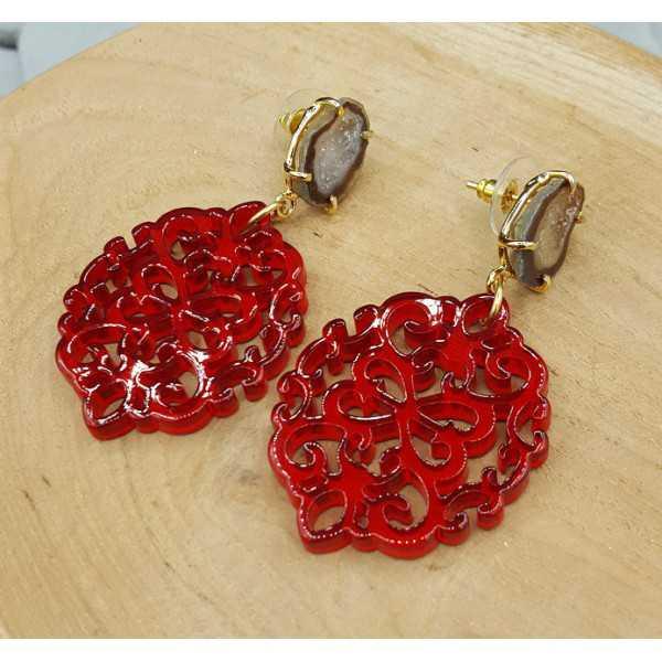 Vergoldete Ohrringe mit roten resin-Anhänger-Achat-geode