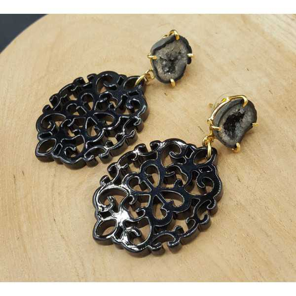 Gold plated earrings with black resin pendant and Agate geode