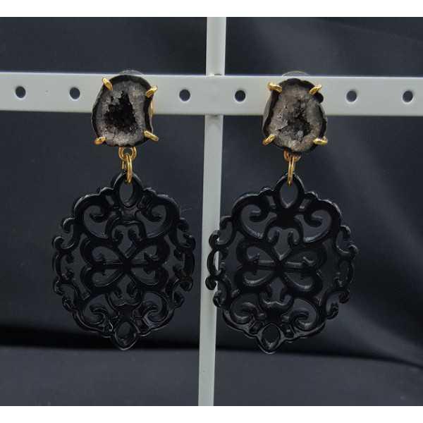 Vergoldete Ohrringe mit schwarzem Harz-Anhänger-Achat-geode