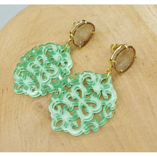 Gold plated earrings with mint green resin pendant and Agate geode