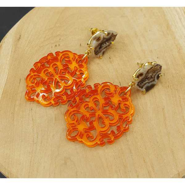 Gold plated earrings with orange resin pendant and Agate geode